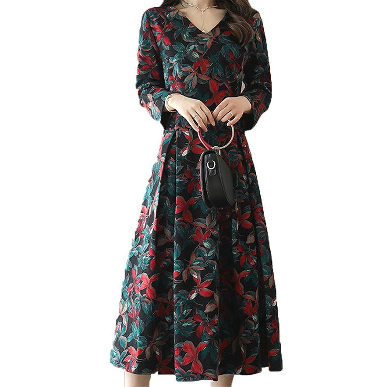 [美しいです] 春 秋 女性 レディース ワンピース レトロ 花柄 ゆったり デザインセンス 優雅 新着 スカート ファッション 気質 長袖 通勤 ドレス