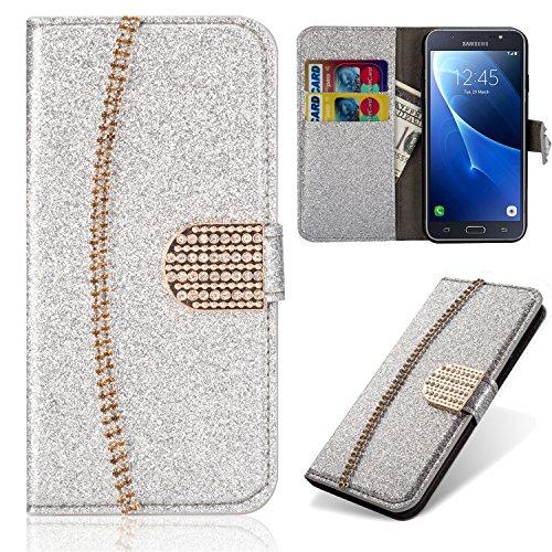 xifanzi per Samsung Galaxy J5 (2016) Custodia in Pelle,Cover per Samsung Galaxy J5 (2016) Portafoglio Elegante Fantastico Brillantini Custodia Argento 3D Disegno Flip Wallet Case
