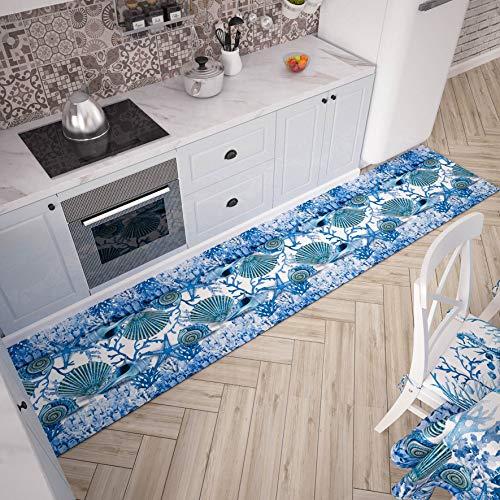 PETTI Artigiani Italiani - Tappeto Cucina Passatoia Cucina Antiscivolo e Lavabile 52x240 cm Disegno Corallo Blu 100% Made in Italy