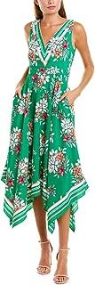 Women's Printed Handkerchief Hem V-Neck Dress