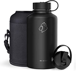 BUZIO Stainless Steel Water Bottle (Cold for 48 Hrs, Hot for 24 Hrs), 40 oz or 64 oz Vacuum Insulated Bottle with Straw Lid and Flex Cap (Double Wall, Wide Mouth, BPA Free, Leak Proof, Sweat Free)