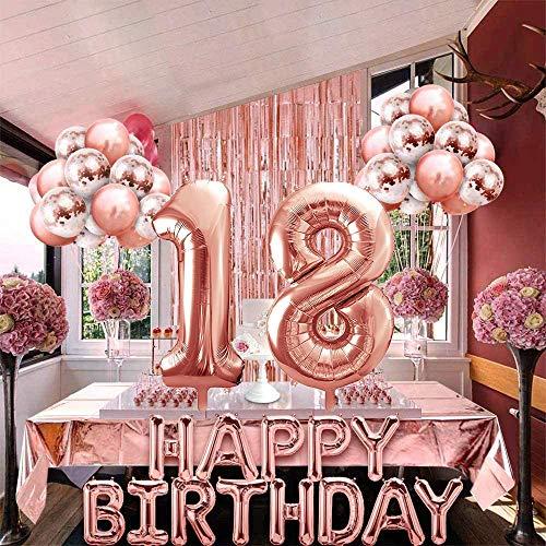 18 Cumpleaños Decoraciones, Globos Feliz Cumpleaños Oro Rosa Decoración Fiesta Cumpleaños, Suministros para Mujeres Adultos Decoración de Cortinas,Confeti,Globos de Látex Impresos