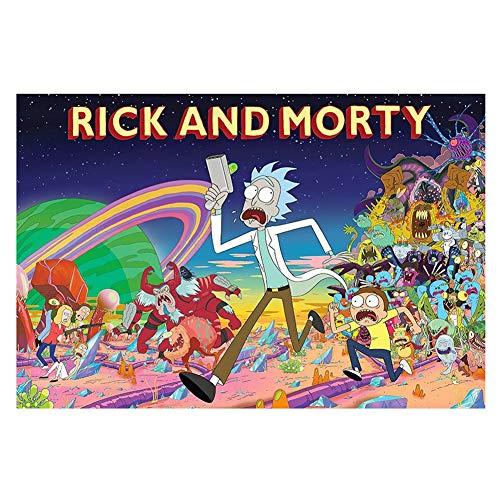 VAST Creativa Animado Rick y Morty Dibujos Animados en Caja Juguetes Arte del Juego Fit 300 ~ 1000 Piezas de Regalos for niños, Inteligencia de Tilo Rompecabezas 523 ( Color : A , Size : 300pc )
