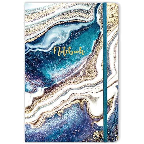 Liniertes Notizbuch/Journal-Hardcover-gefüttertes Notizbuch mit hochwertigem, dickem Papier, 5,8 x 8,4 cm, Rückentasche, elastischer Verschluss, College-reguliertes Journal