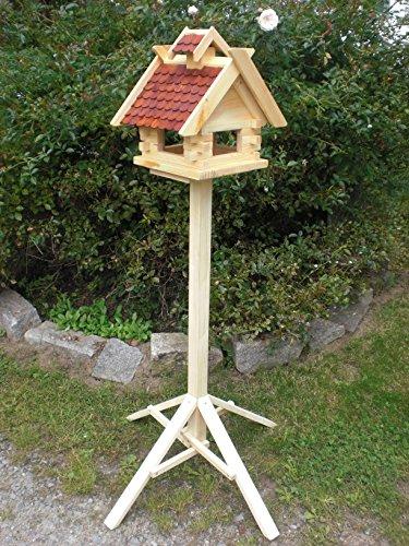 Vogelhaus mit Ständer-(V01+S1) Braun-Vogelhäuser Vogelfutterhaus Vogelhäuschen-aus Holz- Schreinerarbeit-