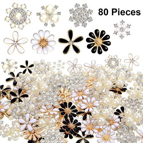 80 Piezas Botones Diamantes Imitación Botones Adornos Botones Perlas Imitación Botones Diamantes Imitación Flores Espalda Plana para Joyería Boda Fiesta Casa Decoración DIY Pelo Accesorio