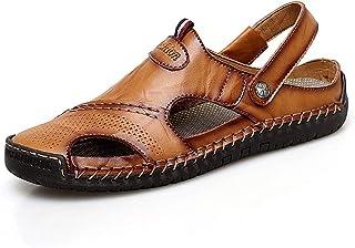 Sandales de Marche Homme Cuir Randonnée Fermées Sandales Été Extérieur Sports Leather Chaussures de Plage Respirant Trekking