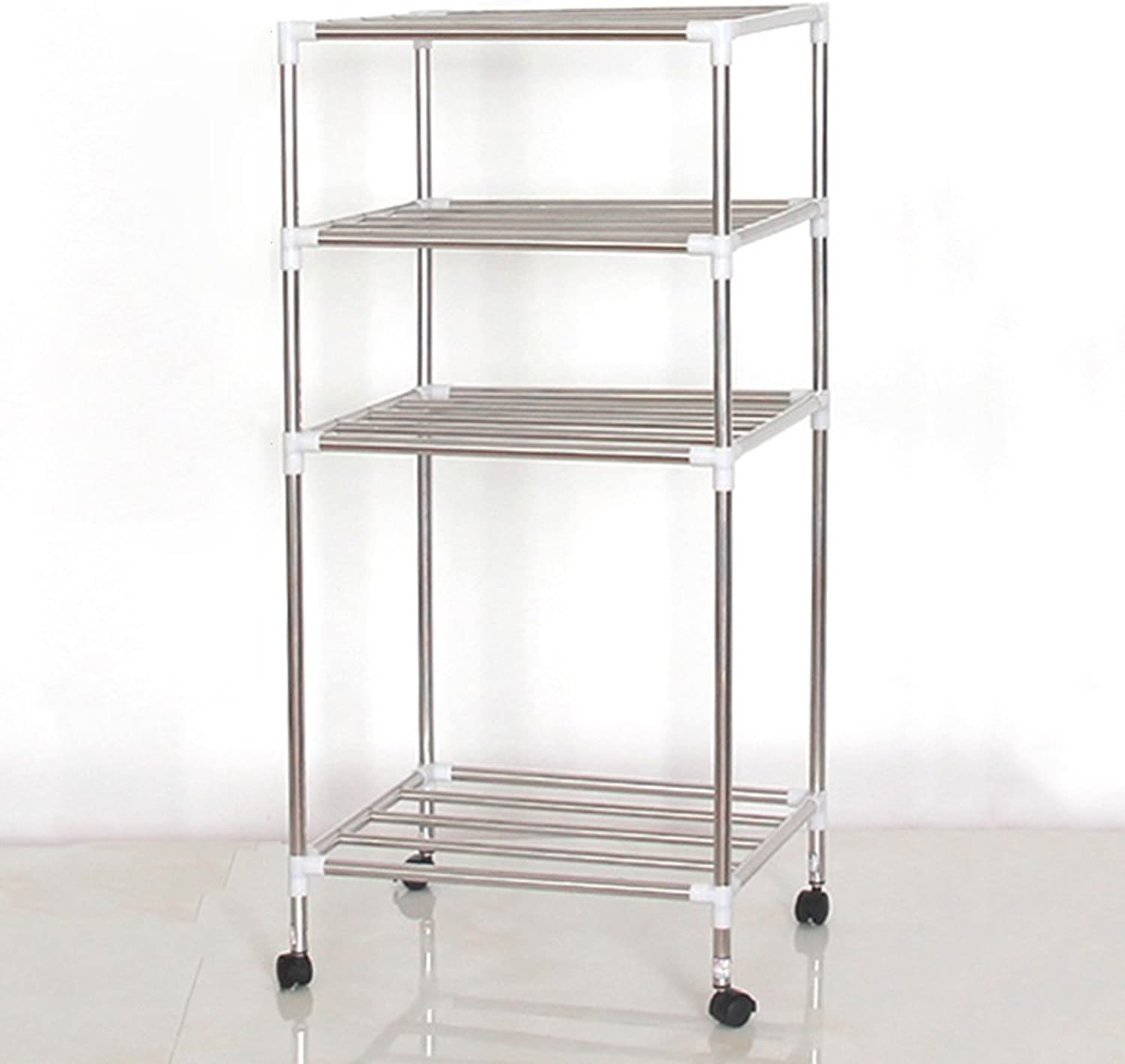 ZZHF yushizhiwujia Storage Racks Multi-Layer Stainless Steel Storage Shelf Floor-Standing Washbasin Holder Kitchen Bathroom Storage Shelf (Size   89  43  35CM)