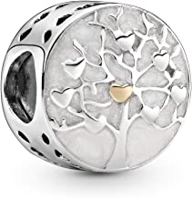 Pandora Jewelry - Family Tree Hearts Charm in Sterling Silver and 14K Yellow Gold with White Enamel