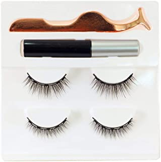 Newcally Magnetic Eyeliner and Lashes Kit with 2 Pairs Natural Looking Lashes