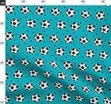 Sport, Fußball, Petrol Stoffe - Individuell Bedruckt von Spoonflower - Design von Andrea Lauren Gedruckt auf Baumwollstoff Klassik