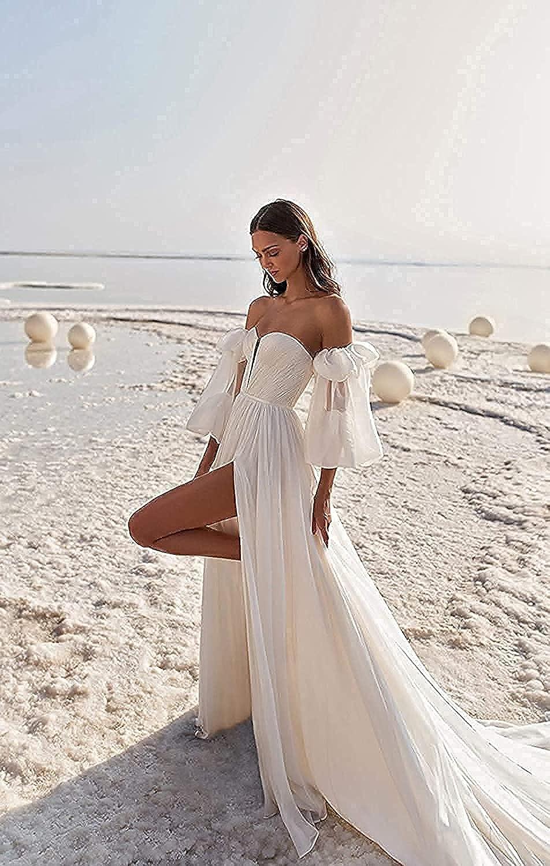 XIMILU Women's High Split Off Shoulder Puff Sleeves Princess Dresses Chiffon Lace Up Ball Gown