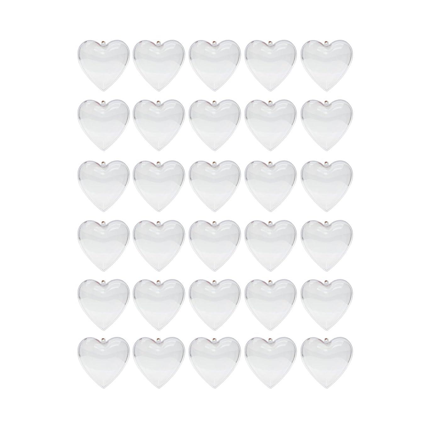 Saim 80mm Clear Plastic Acrylic Heart Shape Fillable Balls Christmas Tree Ornaments DIY Bath Bomb Molds Pack of 30