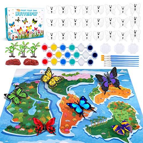 TICE Set de Manualidades para niños de 4 a 6 años, Kit de Pintura para niñas, Manualidades de Mariposas, Juguetes para niños de 5 6 7 8 años, Regalo de cumpleaños para niñas y niños de 6 a 8 años