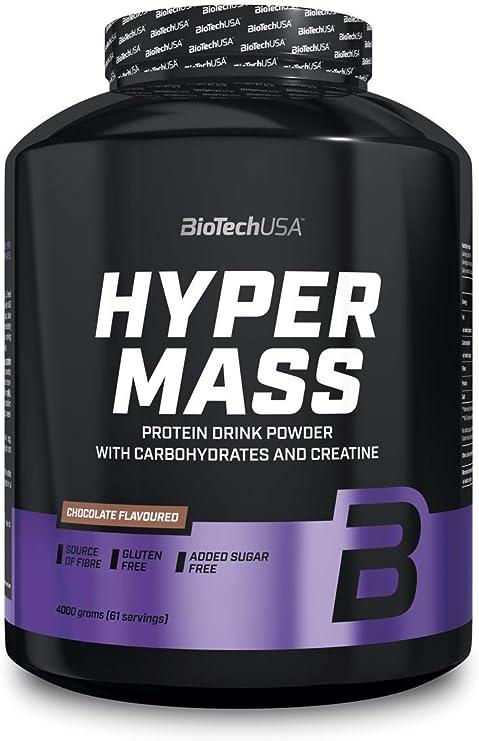 BioTechUSA Hyper Mass Bebida en polvo con carbohidratos, proteína y creatina, alto contenido de fibra dietética, sin azúcar añadido, 4 kg, Vainilla