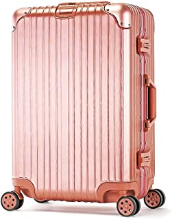 Suitcase Trolley Carry On Hand Cabin Luggage Hard Shell Travel Bag Lightweight Durable 360° Spinner Wheels,Gold,26inches