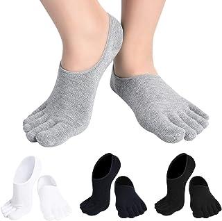 Evedaily Lot de 5 Paires de Chaussettes Homme Mi Hautes//Chaussettes Orteils Separ/és en Coton Respirantes Confortable Pour Hommes