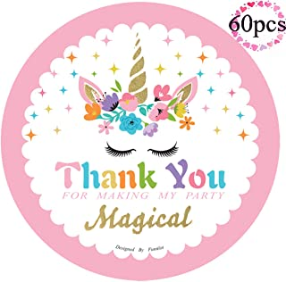 Funnlot Magical Unicorn Stickers Thank You Stickers for Baby Shower Kids Unicorn Party Christmas Day Thanksgiving Day Supplies Birthday Party Favor Stickers Labels 60 Pack Gold Glitter