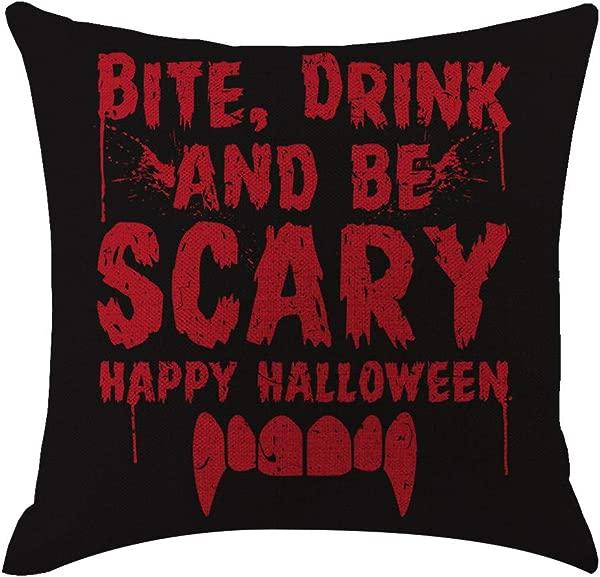 BONJIU 18x18 Inches New Happy Halloween Trick Or Treat Pumpkin Season Seasonal Gifts Burlap Throw Pillow Cover Decorative Cushion Cover