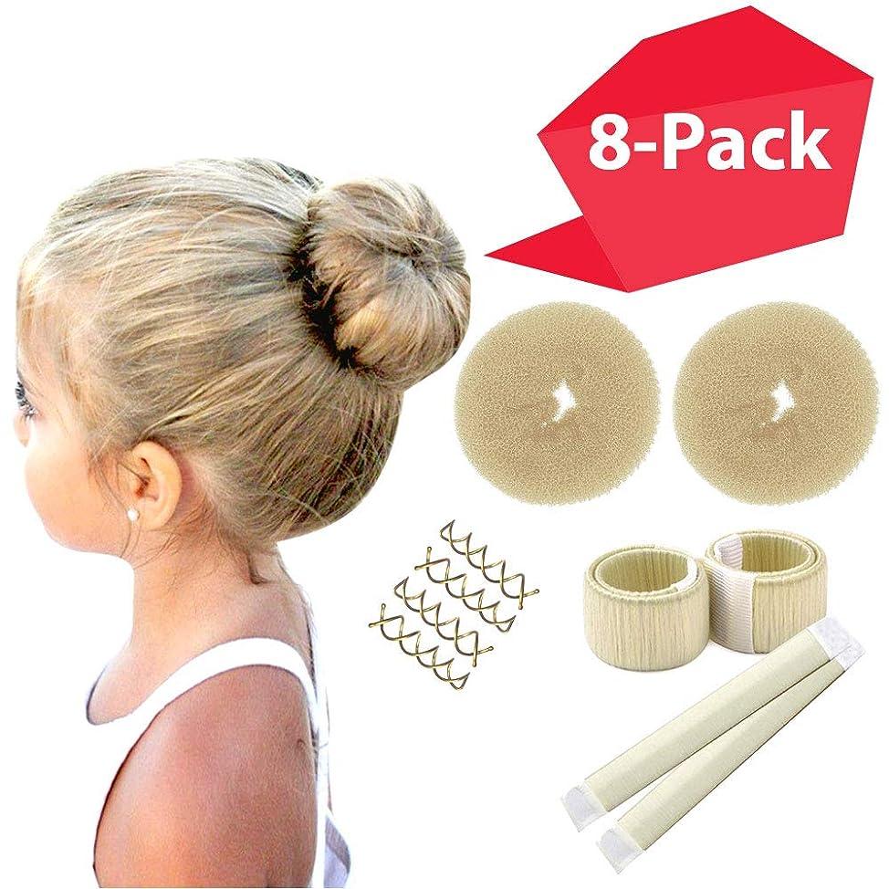 Blonde Magic Hair Bun Shaper 8-PACK MINI BUNS | Essentials for the BEST Small Hair Buns | 2 Donuts + 2 Snap Bun Makers + 4 Spin Pin Bobby Pins | Ballet Bun Maker Kids | Easy Hair Bun Women Girls Kids