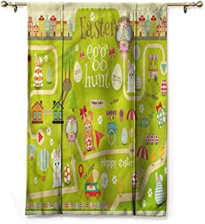 Andrea Sam Tie Up Valance Curtains Easter,Egg Hunt with Bunny,28