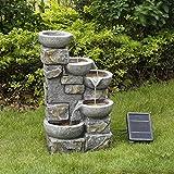 Peaktop Fuente de Agua de energía Solar Adorno de Piedra de jardín con Luces PT-SF0003