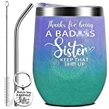 Dynular Best Sister Gifts Birthday Mothers Day Christmas Gifts for Sister from Sister Brother Soul Sister Thank You Farewell Gifts Travel Cup 12oz Insulated Wine Tumbler Gift with Keychain Glitter