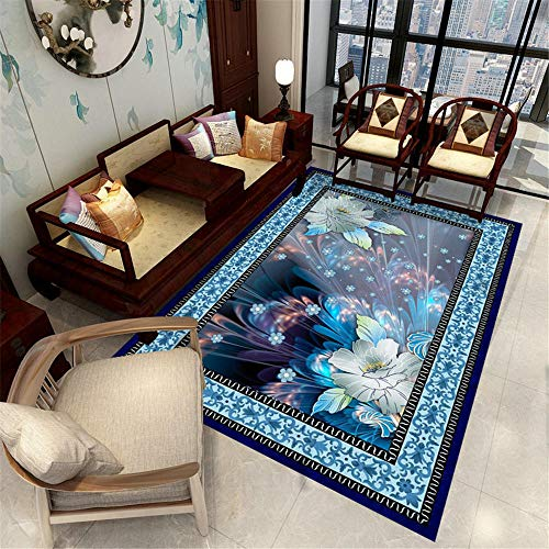 tappeto camera bambina Tappeto soggiorno blu floreale geometrico retrò tappeto tappeto antiscivolo Blue tappeto passatoia antiscivolo 140X200CM tappeto per gattonare 4ft 7.1''X6ft 6.7''
