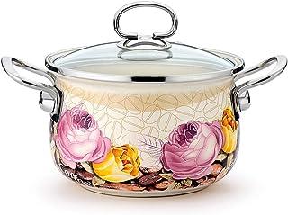 Xilin-shop Olla Recta con Tapa Plato de Esmalte crisol de la Sopa Pot Inicio Pasta Guiso Sopa de cazuela con Tapa Olla de Acero con Tapa de Cristal (Color : A)