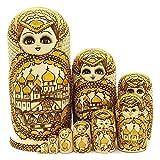 JYING Muñecas Rusas Matryoshka, 10 muñecas de Madera Tradicionales Matryoshka Babushka, Juguetes de Regalo, Hechos a Mano en Rusia