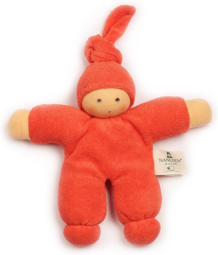 Nanchen Mu/ñeca peque/ña de algod/ón org/ánico Pimpel-Orange Red