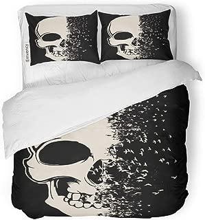 Tarolo Bedding Duvet Cover Set Red Evil Skull Sketch Tattoo Brush Danger Dark 3 Piece Queen 90