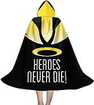 SEDSWQ Mercy Heroes Never Die Logo Ov-erwatch Unisex Kids Hooded Cloak Cape Halloween Xmas Party Decoration Role Cosplay Costumes Black