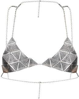 Femnmas Silver Designer Body Bra Jewellery Chains for Girls & Women (Silver)