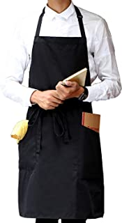 SONGXIN Aprons for Women Men Adjustable - Black Kitchen Cooking Apron with 2 Pockets for Adults Painters BBQ Dishwasher Apron Long Waist Strap