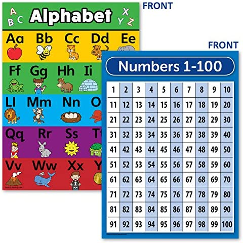 Laminated ABC Alphabet Numbers 1 100 Poster Chart Set 18 x 24 product image