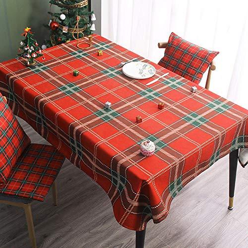 Ahuike Moderno Mantel Tipo Hule Encerado Rectangular Navidad Resistente Al Desgaste Impermeable Elegante Rojo B 140 × 230cm
