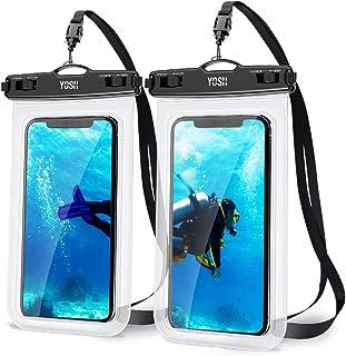 YOSH Funda Impermeable Móvil Universal 2 Unidades, IPX8 Bolsa Impermeable Móvil Funda Sumergible para iPhone XR XS X SE 11 Plus Samsung S20 plus A71 Xiaomi Mi 10 Huawei P30 BQ Aquaris hasta 7 Pulgadas