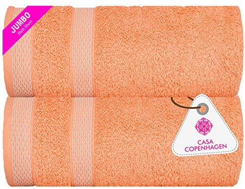 CASA COPENHAGEN Solitaire Egipcio algodón 600g/m², Toallas de baños (Melocotón Malibu) 2 Piezas