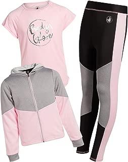 Girl's 3-Piece Athletic Fleece Zip Up Hoodie, Leggings and Tank Top Set