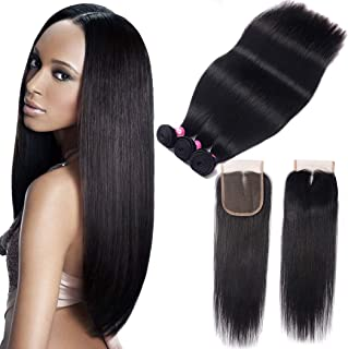 10A Grade Brazilian Straight Hair Bundles with Closure Unprocessed Virgin Straight Human Hair 3 Bundles with Middle Part Lace Closure B-Fashion Remy Human Hair Weave Extensions (20 22 24 and 18)