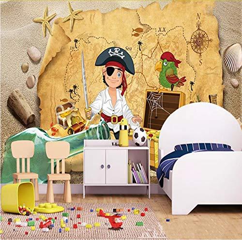 Zybnb Tapete Kinderzimmer Retro Schatzkarte Piraten Wandbild Wanddekoration Kinder Tapete Rolle
