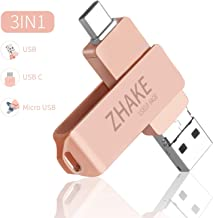 64GB Memoria USB 3.0 Tipo C Dual OTG Flash Drive USB C Pendrives Llave Portátiles para Samsung Galaxy S8, S8 Plus, Note 8, LG G6, V30, Google Pixel XL (Oro Rosa)
