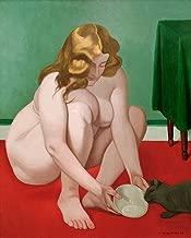 kunst für alle Art Print/Poster: Felix Edouard Vallotton Woman with cat Picture, Fine Art Poster, 21.7x27.6 inch / 55x70 cm