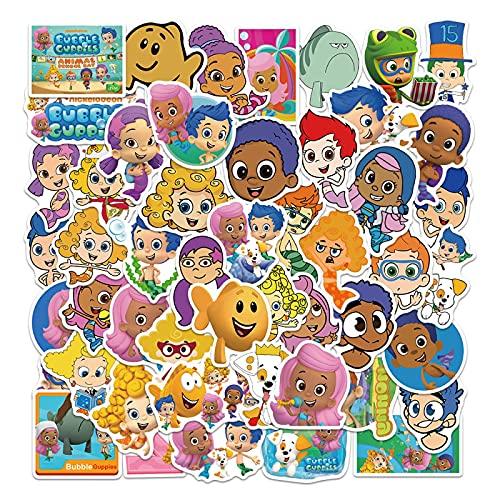 Dibujos animados burbuja guppy graffiti pegatinas no repetitivo caso de viaje teléfono móvil decoración niños pegatinas impermeable 50 unids