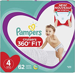 Diapers Size 4, 62 Count - Pampers Pull On Cruisers 360° Fit Disposable Baby Diapers with Stretchy Waistband, Super Pack (...