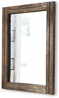AAZZKANG Rustic Mirror Wood Frame Rectangle Wall Mirror Decorative Farmhouse Bedroom Bathroom Hanging Mirror Wall Decor
