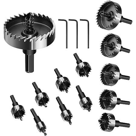 SUNOKY HSSドリルビット ホールソーセット 16-53mm 13PCS 超硬 ステンレス 高速度鋼 金属合金 木工 大工 穴あけ対応 13本セット プラスティック 鉄 アルミ ステンレス スチロール等