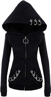 a5c23c361e5f2 Witchcraft Punk Gothic Zip-up Hoodie - O-Ring Eyelt Long Sleeve Coat Jacket