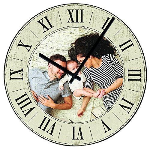 Personello® Retro-Wanduhr mit Foto, Fotouhr mit römischen Zahlen (29x29cm), Vintage Uhr ohne Ticken, personalisiert